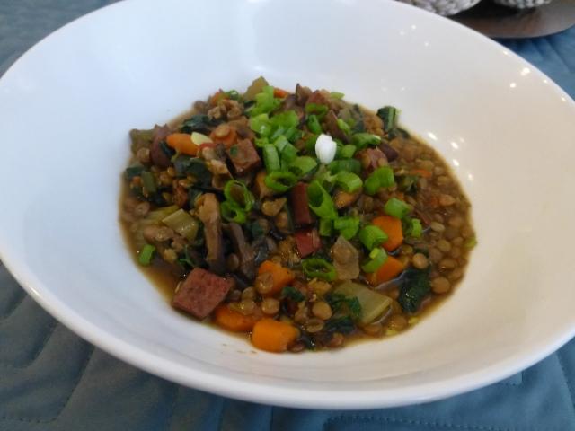 Lentil soup with turkey sausage