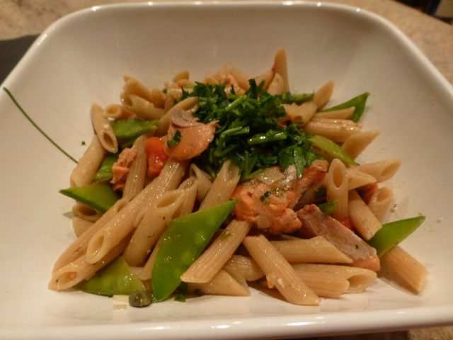 Whole wheat penne with salmon, snow peas and capers