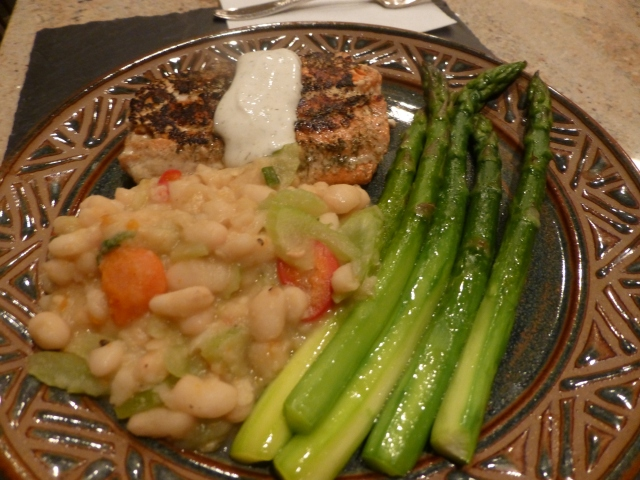 Wild salmon, asparagus and white navy beans