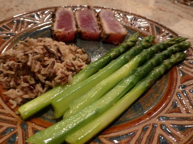 Tuna, rice, asparagus