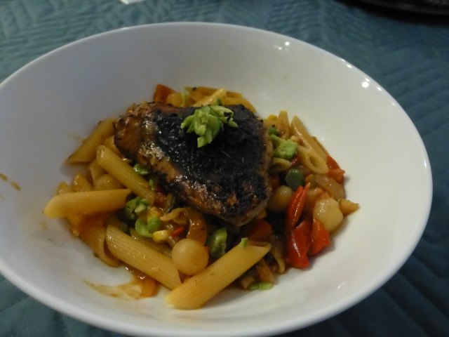 Chicken cacciatore with penne
