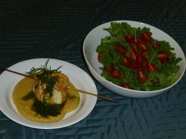 Roasted cod, chickpea puree and parsley sauce served with an arugula salad