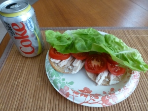 Open-faced chicken sandwich