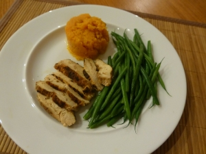 Pan roasted chicken with butternut squash and green beans