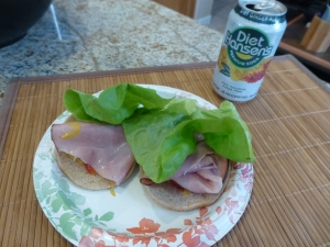 Open-faced ham sandwich