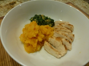 Pan roasted  chicken breast with squash/rutabaga mash and creamed spinach