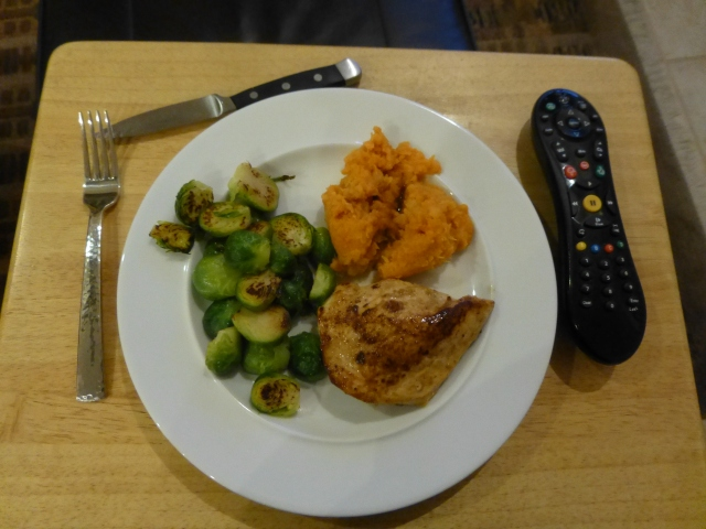 Pan roasted chicken with root vegetable mash and Brussels  sprouts