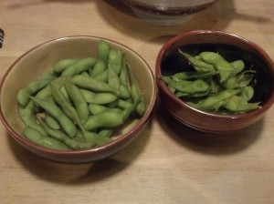 We share a small bowl of edamame