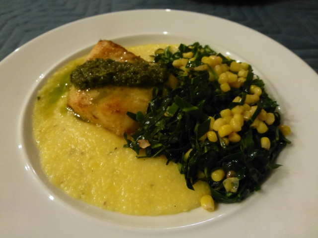 Pacific cod on polenta with collard greens and corn