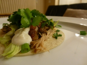 Pulled pork with cabbage, green onions, cilantro, and crema on a corn tortilla