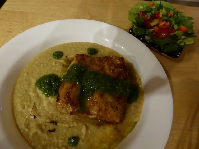Pacific cod on chickpea puree with a parsley sauce. Side of crunchy salad.