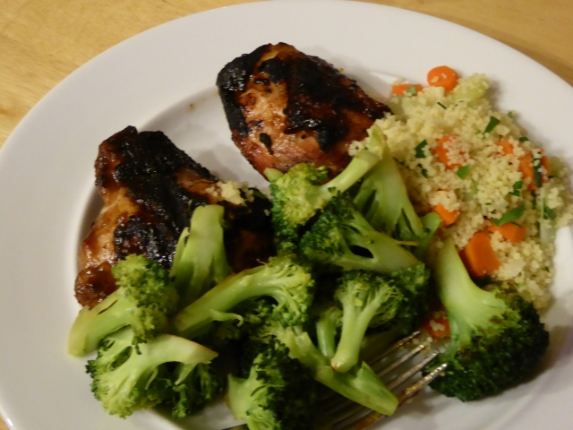 Grilled chicken with BBQ sauce, couscous, and broccoli