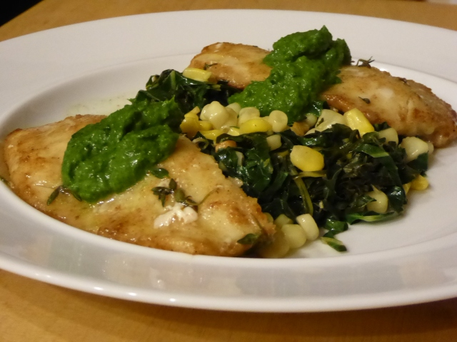 Pacific cod with parsley sauce plus collard greens and corn