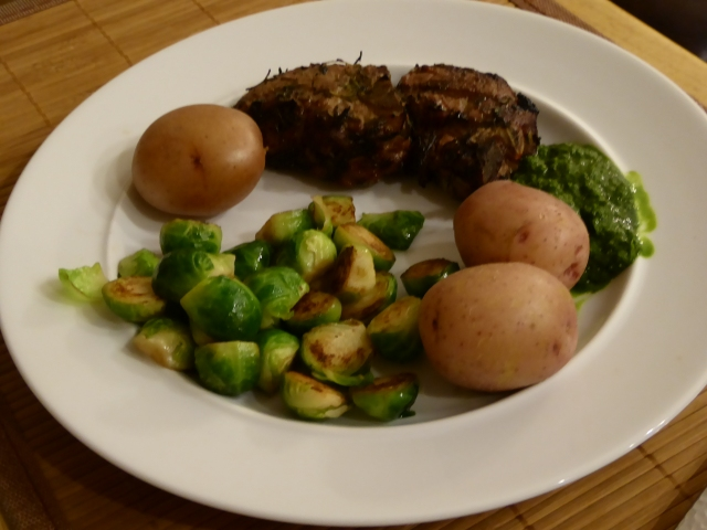 Lamb chops with new potatoes and brussels sprouts