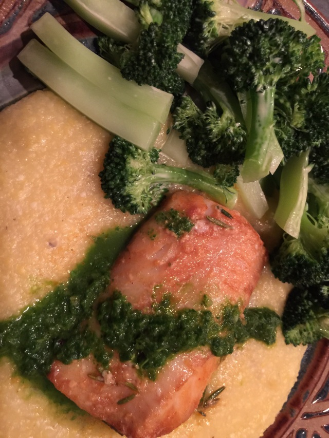 Cod and polenta with parsley sauce and broccoli