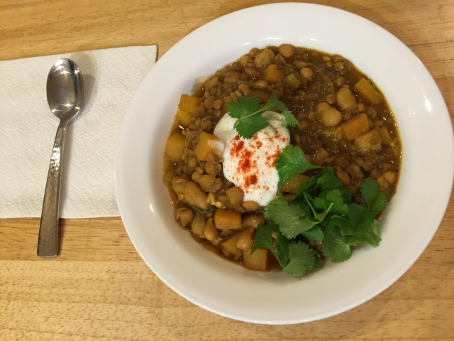 North African bean stew with barley and winter squash