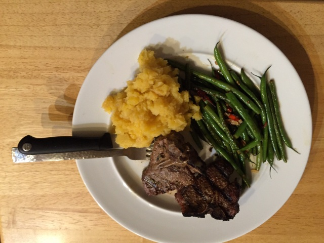 Lamb chops with rutabagas and spicy green beans