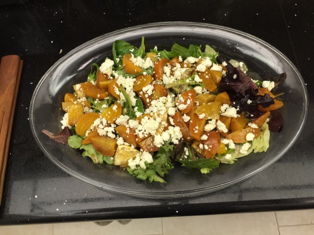 Golden beets and feta cheese salad