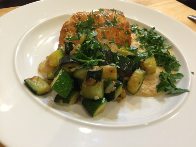 Pacific cod with chickpea purée and zucchini