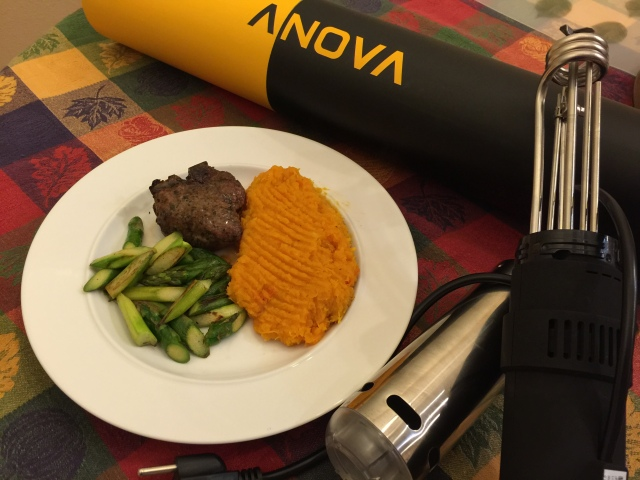 Lamb chop with butternut squash and asparagus