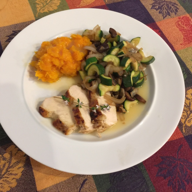 Chicken breast with roasted butternut squash and zucchini