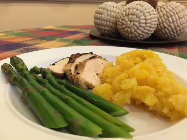 Rutabagas and asparagus with chicken