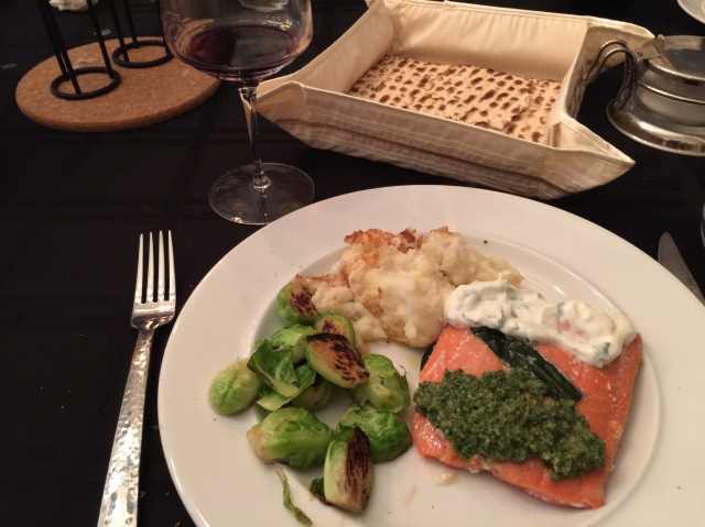 Seder Dinner - Salmon with mashed potatoes and Brussels sprouts