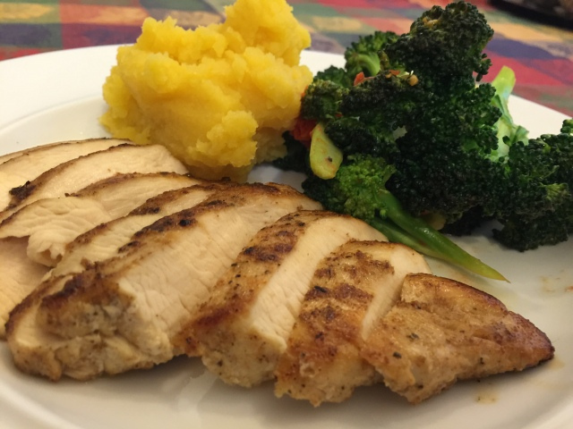 Pan-roasted chicken with rutabagas and broccoli