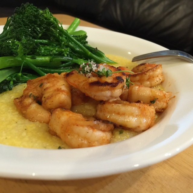 Shrimp and grits with broccolini