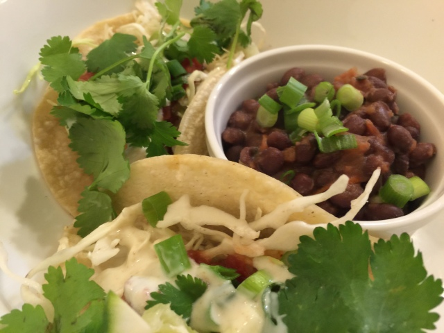 Pacific cod tacos with black beans