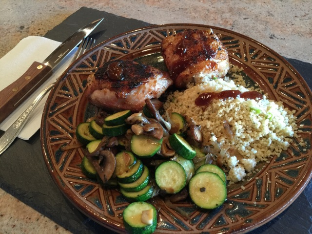 Grilled chicken with zucchini and couscous