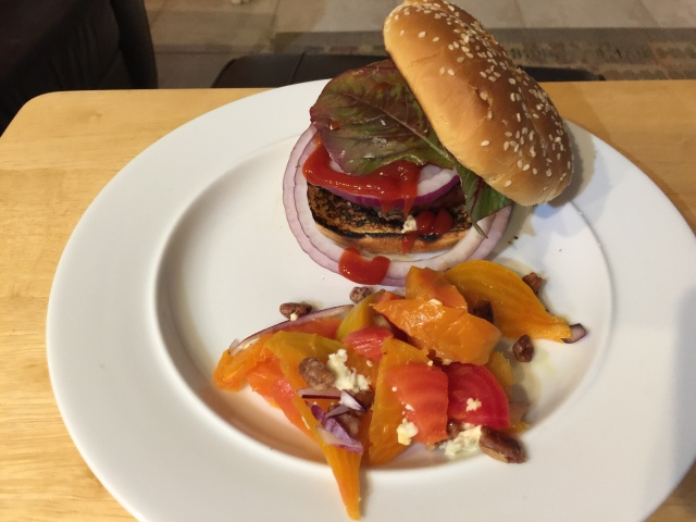 Zayde burger with roasted beet salad