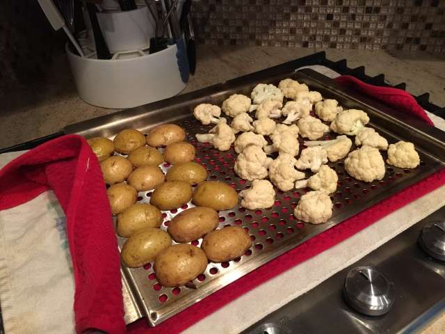 Potatoes and cauliflower ready for the grill