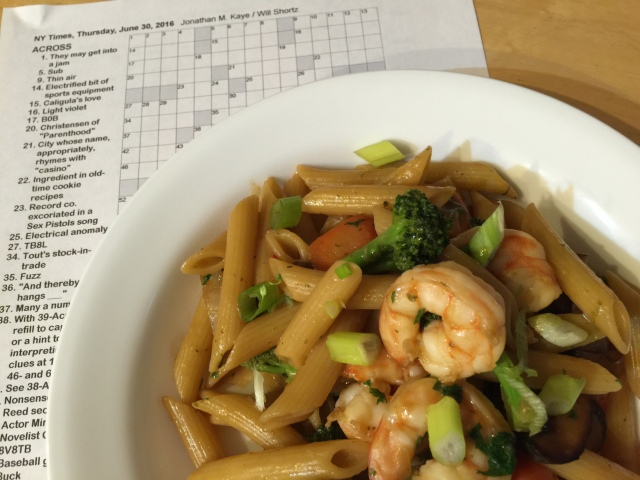 Penne with shrimp, broccoli, carrots, and mushrooms