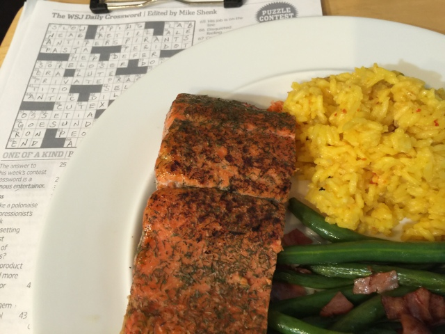 Wild sockeye salmon with yellow rice and green beans