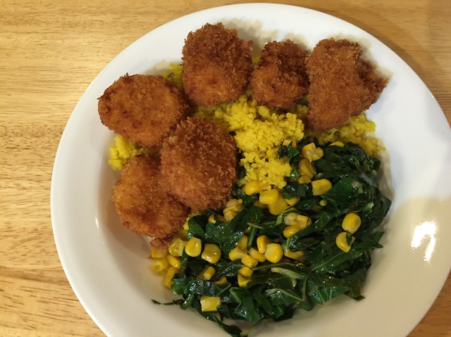 Fried scallops with collard greens and corn (plus a little leftover couscous from last night)