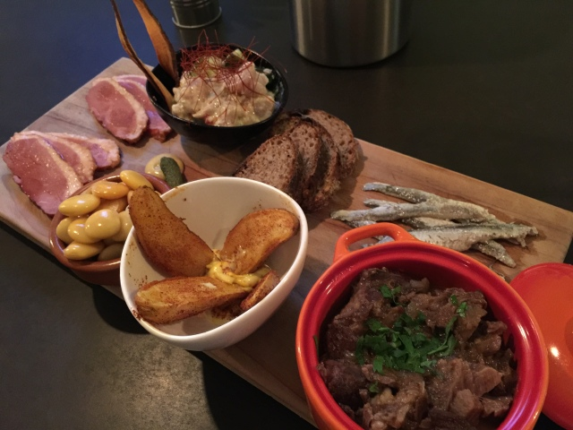 Tapas from Tasca Tasca included smoked duck, tuna ceviche, anchovies, and goat stew!