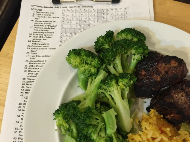 Grilled lamb chops with yellow rice and broccoli