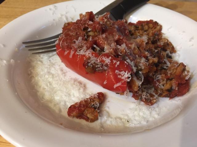 Farro and mushroom stuffed peppers