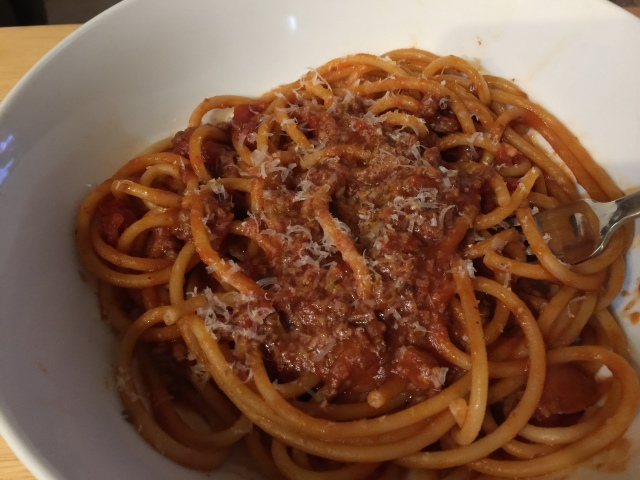 Bucatini with meat sauce