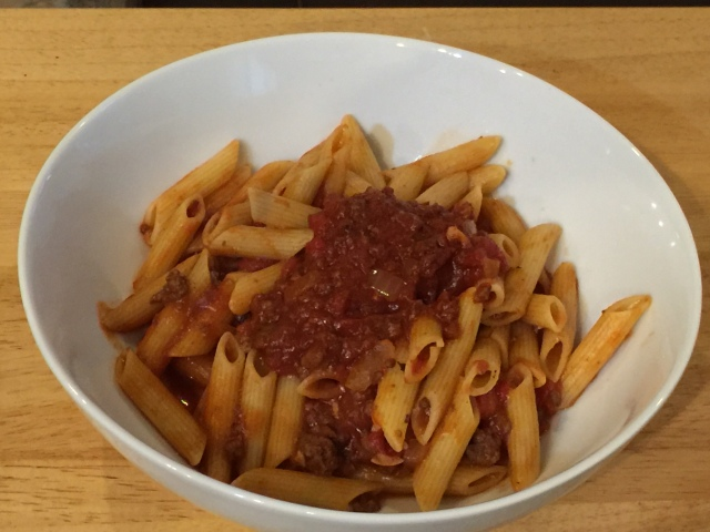 Penne with spaghetti sauce