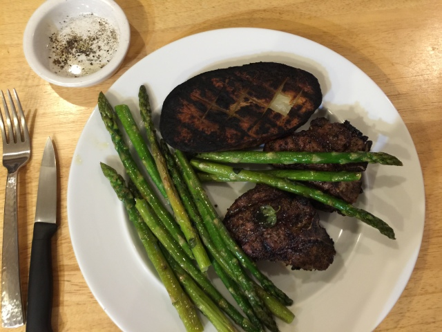 Lamb chops with grilled potato and asparagus