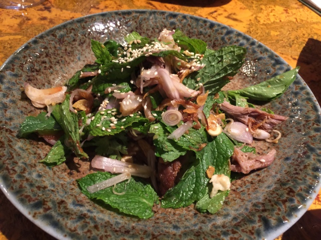 Salad of duck and lichi with mint and Thai basil