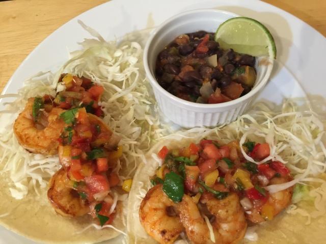 Shrimp tacos and black beans