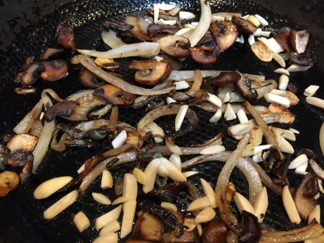 Additional onions, mushrooms, and almonds