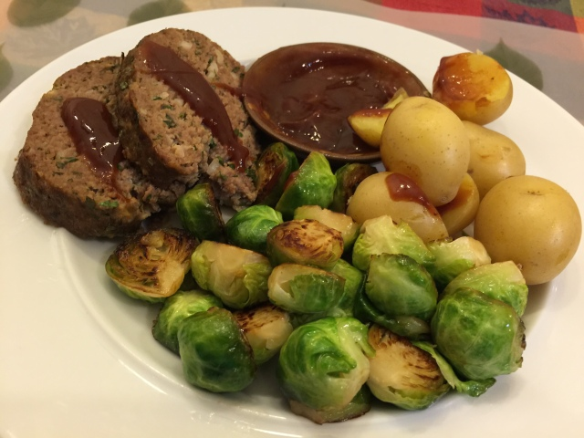 Meatloaf, brussel sprouts, new potatoes, and a ketchup/hoisin/fish sauce combo