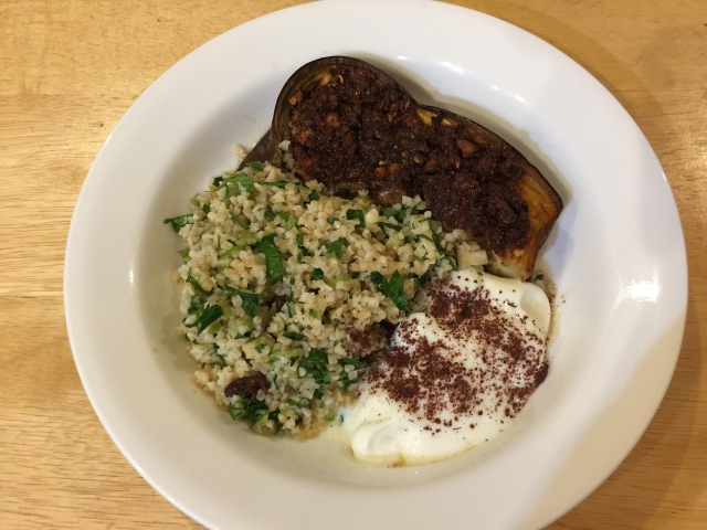 Spiced eggplant with bulgur salad and yougurt