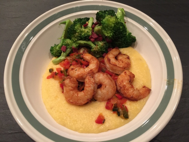 Shrimp and grits with broccoli