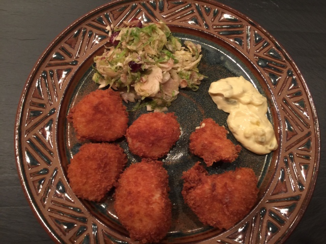 Fried scallops and tartar sauce with brussel sprout salad