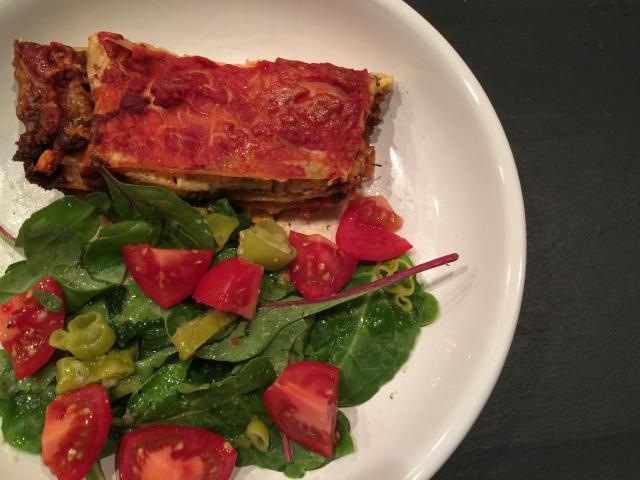 Leftover lasagna with salad